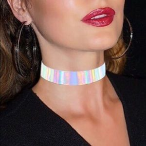 Awesome rainbow tint holographic iridescent choker
